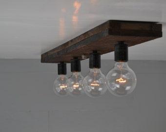 Ceiling Light  Wood Fixture   Wood Vanity Light   Flush Mount   Reclaimed  Wood