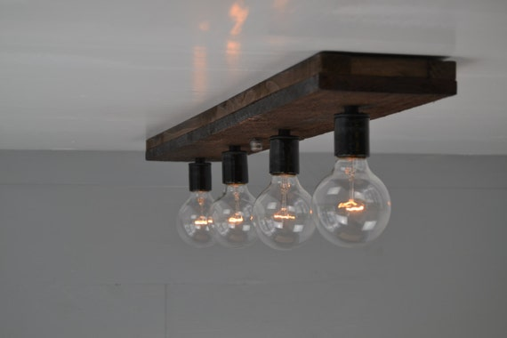 Ceiling light wood fixture wood vanity light flush mount aloadofball Image collections