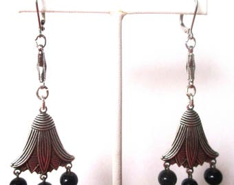 Pair of Deco Egyptian Revival Silver Tone Earrings