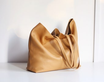 LILA - Leather Tote Bag - HONEY