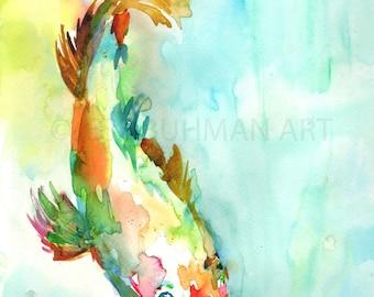 Koi Fish Painting, Watercolor Koi, 8 x 10 Print, Print of Koi Fish, Watercolor Fish, Koi Fish Art, Colorful Fish Art, Pri