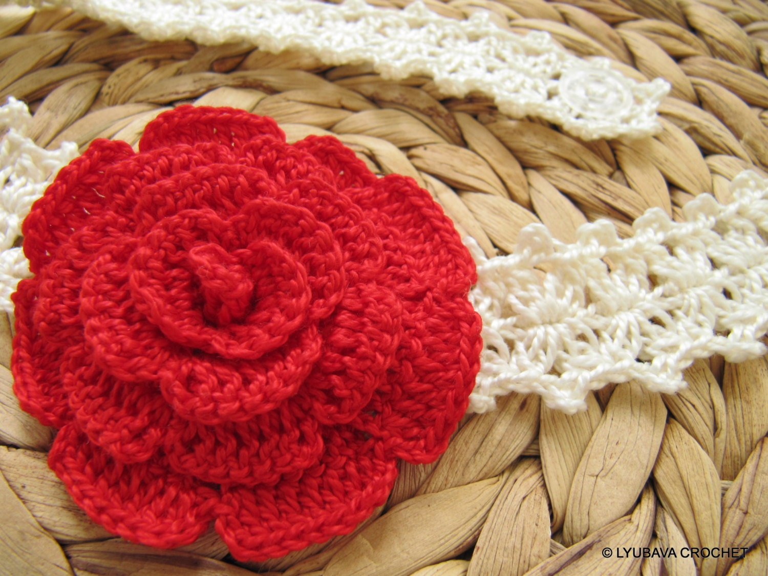 Crochet Pattern, Rose Flower Headband PATTERN, 3d Flower Headband ...