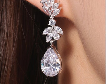 WINTER - Silver Crystal Drop Pierced Bridal Wedding Earrings