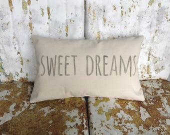 SWEET DREAMS Cream cotton canvas  pillow with Nursery Teen Gift Painted Burlap Pillow Accent Pillow Custom Colors Available Home Decor