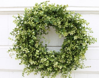 Boxwood Wreath, Farmhouse Decor, Front Door Wreath, Green Wreath, Year Round Wreath, Outdoor Wreath, Everyday Wreath, Wedding Wreath, Wreath