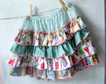 Little Girls Clothing, Girls Fancy Frilled Skirt in size 4 to 6,  Frilled Skirt, Layered Skirt, Party Skirt, by mailordervintage
