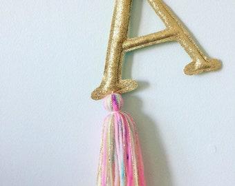 Hanging letter, personalised monogram, glitter, tassel, wall decor