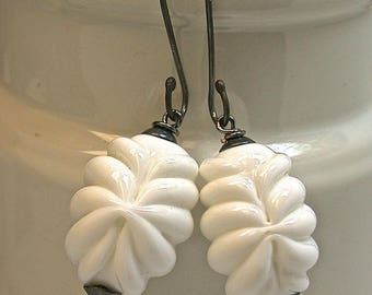 Vintage Japanese WHITE Glass Baroque Fluted Handmade Bead Dangle Earrings, Handmade Oxidized Sterling Silver Ear Wires
