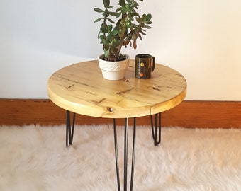 Round End Table, Reclaimed Wood Round Table, Bedside Table, Side Accent Table, Hairpin Leg Table, Three Leg Table, Mid Century, Coffee Table