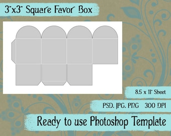 "Party Favor Box Digital Collage Photoshop Template, 3"" x 3"" Square Favor Box"