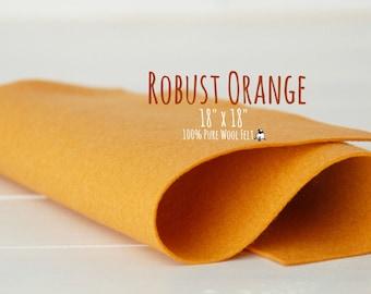 "100% Wool Felt 18"" Square - Pure Merino Wool Felt Large Sheet - 18"" X 18"" - Color Robust Orange-5060 - Pure Wool Felt - Shades of Orange"