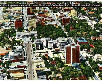 Vintage South Carolina Postcard - Aerial View of Downtown Columbia (Unused)