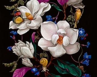 "Magnolia Botanical-11""x14"" Giclee Print of Original Painting"