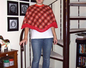 Vintage red, green, off-white, and camel plaid cape