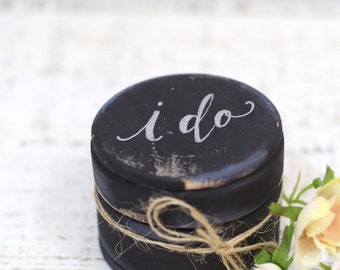 Custom Wedding Ring Box, Wooden Ring Box, Wedding Gift, Ring Bearer Box, Rustic Wedding Box, I Do Ring Box with Burlap