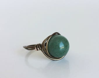 Jade Bead Ring, Green Round Bead Wire-Wrapped in Antique Bronze/Brass Wire, Handmade, Custom Made in Any Size, Forest Moss Green Stone Ring