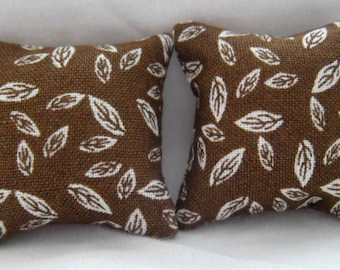 1/12th Scale Dolls House Autumn Leaves Print Cushions