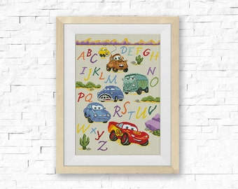 Disney cars letters etsy bogo free cars alphabet abc cross stitch pattern pixar artoon counter cross stitch embroidery needlework pdf instant download 012 2 m4hsunfo