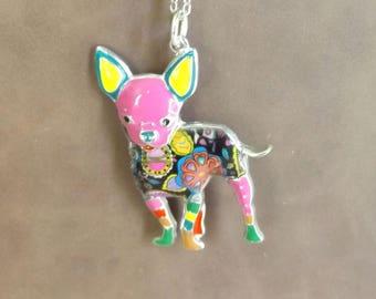 Colorful Bonsny Chihuahua  Pendant Necklace Beautiful Make A Statement Dog Pendant