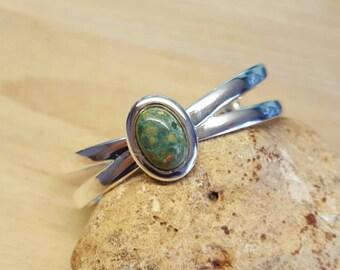Green Rhyolite cuff bracelet. Adjustable bracelet. Reiki jewelry uk. Silver plated