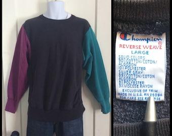 Vintage 1980s 1990s Champion Reverse Weave Sweatshirt multicolr Color Block size Large Black Pink Turquoise