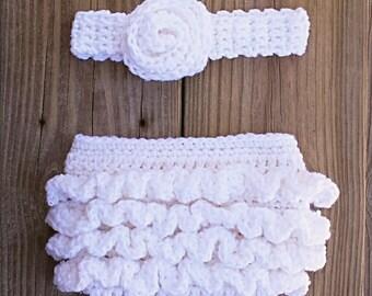 Ruffled diaper cover and headband photo prop set - pdf crochet pattern