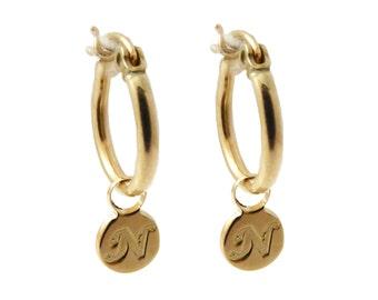 Initial Hoop Earrings. monogram Earrings. Gold Earrings. Personalized Earring. Alphabet Earring. Small Hoop Earring. Initial Earring.