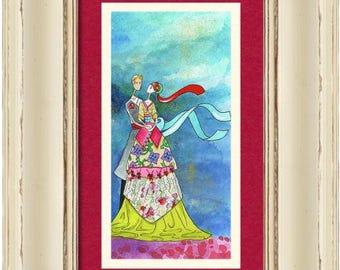 Romantic Jewish gift Judaica 'One Spring Day' Art PRINT home decor