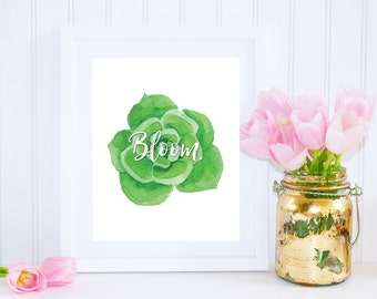 Succulent Print, Bloom Where You, Are Planted, Gift for Daughter, Top Selling Items, Gift Under 20, Succulent Wreath