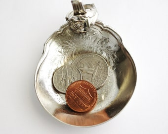 Unique Ring Dish Ring Holder from Gravy Ladle, Jewelry or Coin Change Dish, Tiny Trinket Bowl, Recycled Vintage OOAK Silverware by Hendywood