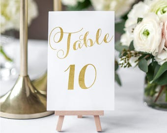 Gold Table Numbers Printable Set - 4x6 inches - Tables 1-30 - gold table assignments wedding - Instant download - 5x7 inches - #GD1406
