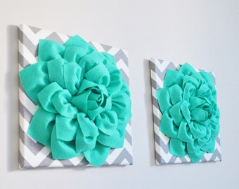 """Kids Room Decor - Teal Dahlia Flowers on Gray and White Chevron 12 x12"""" Canvas Wall Art- Baby Nursery Wall Decor- Pool Blue gift for her"""