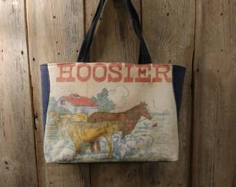 Vintage Hoosiers feed sack upcycled