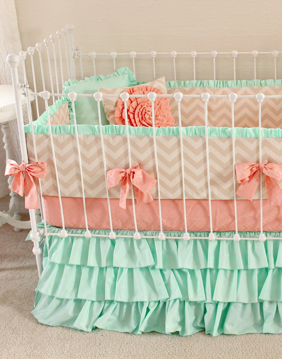 Mint Peach Baby Bedding. Girl Crib Bedding Baby Girl Bedding