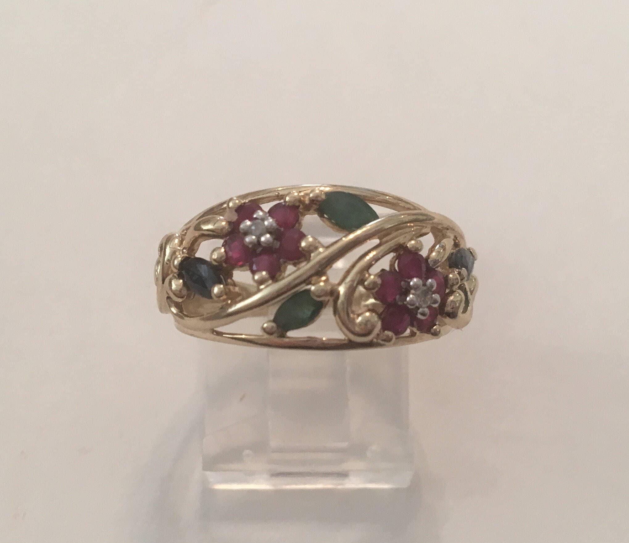 Vintage 10K Yellow Gold Ruby Emerald Blue Sapphire & Diamond