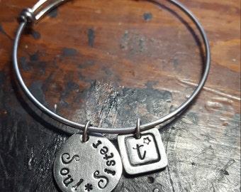 Soul sister bracelet, custom bangle bracelet