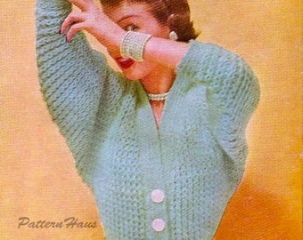 Sweater Bat Wing Bulky Knitting Pattern Instant Download