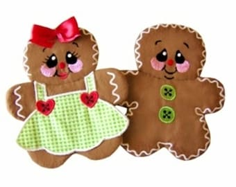 Gingerbread Potholder and Applique Embroidery Designs