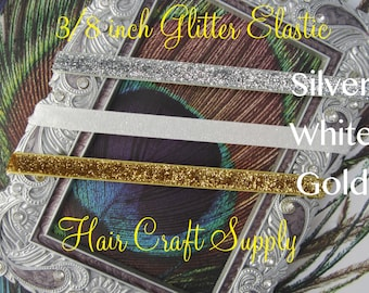 """GLITTER ELASTIC by the Yard - 3/8""""- You Choose Colors"""