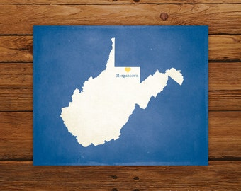 Customized Printable West Virginia State Map Art - DIGITAL FILE - Aged-Look Canvas Wall Art Print