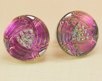 Silver and Rose Tone Czech Glass Post Earrings