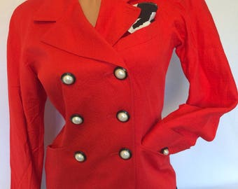 Vintage red blazer double breasted blazer with pocket handkerchief Size 4 80s