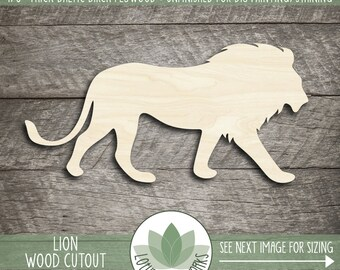 Lion Wood Shape, Wooden Lion Cutout, Unfinished Wood For DIY Projects, Blank Wood Shapes, Many Sizes, Safari Nursery Decor, Wood Animals