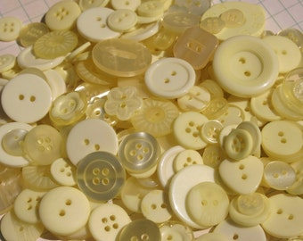 "Yellow Buttons - Assorted Sewing Button - Size Range 3/8"" to over 1"" Wide - 120 Buttons - Misted Yellow"
