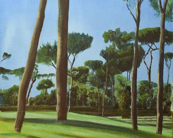 Original acrylic painting of the Borghese Gardens, Rome