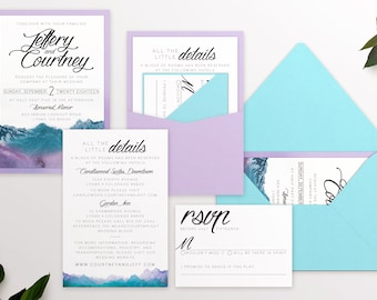 Mountain Wedding Invitation Suite - Watercolor Invitations Suite - Mountain Theme Stationary - Available in and color