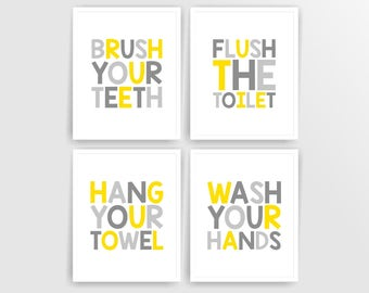Yellow Grey Printable DIY Kids Bathroom Art, Brush, Flush, Hang, Wash, Set of 4, 8x10 JPG files  ( 001BA810 ) ( cc016 )