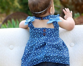 BABY Saylor's Square Bow Back Top & Dress. Downloadable PDF Sewing Pattern for Baby sizes Newborn to 24 Months