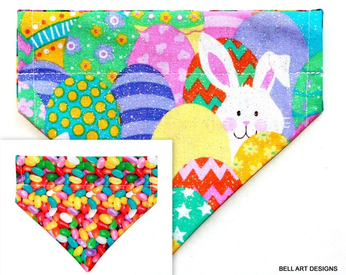 EASTER, Buny, Jelly Beans ~ Over the Collar ~ Reversible ~ Dog Pet Bandana ~ Bell Art Designs ~ Extra Small ~ DCXS0436