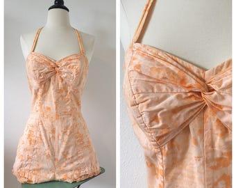 Vintage 1950s Catalina Peach Sherbert Swimsuit Bathing Suit Playsuit / Vintage Size 14